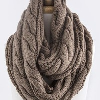 CABLE PATTERN KNIT INFINITY SCARF