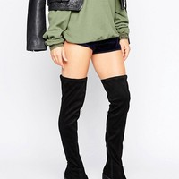 Boohoo Over the Knee Chunky Heeled Boots at asos.com