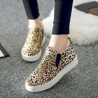 High-top Flat Cotton Shoes Waterproof Leopard Thicken Boots [9432939658]
