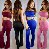 2016 summer women sexy wrapped chest and belly and wide leg pants suit pants female Siamese