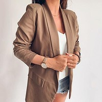 Casual Blazer Women Solid Plus Size High Fashion Retro Pocket Femme Coats