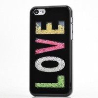 Meaci Apple Iphone 5c Case Glitter Bling Neon Rhinestone Series Protective Case -Love(xii)