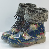 2016 Winter New Fashion Women Patent Leather Floral Pattern Waterproof Rainboots Warm Cotton Fabric Woman Ankle Boots Z289