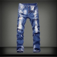 Ripped Holes Cotton Pants Men's Fashion Jeans [407120150557]