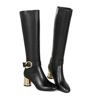 Real Leather Knee Boots  Snow Boots Ladies Sexy High Heel  Zipper Riding Boots Shoes Size 34-39