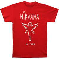 Nirvana Men's  Chalk Outline In Utero Slim Fit T-shirt Cardinal Rockabilia