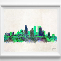 Minneapolis Skyline, Print, Watercolor, Poster, Minnesota, Cityscape, City Painting, State, Illustration, Giclee Wall, Decor [NO 198]