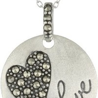 """Sterling Silver Marcasite Heart """"Love"""" Round Pendant Necklace, 18"""""""