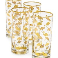 Set of 4 Flamingo Highball Glasses