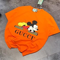 GUCCI x Disney Popular Women Men Casual Mickey Mouse Print T-Shirt Top