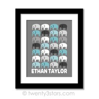 Elephants Name Wall Art - Choose Any Colors - twenty3stars