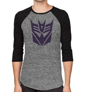 Transformers Decepticon Logo Adult Arctic Gray and Black Baseball Raglan T-shirt - Transformers - | TV Store Online