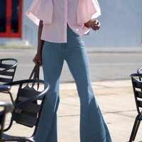 Light Blue Buttons High Waisted Going out Flare Bell Bottom Long Jeans
