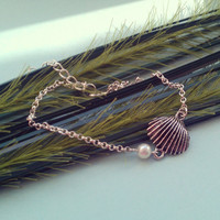 Sea Shell Anklet - Silver plated chain, Imitation Pearl, Extendible
