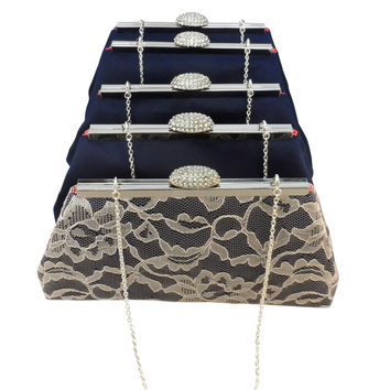 Set of Five Navy Blue, Champagne and Calypso Coral Bridesmaid Gift Clutches 5% Off