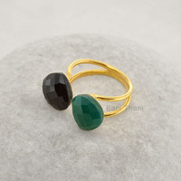 Green Onyx, Black Onyx Heart Shape 12mm - Micron Gold Plated Sterling Silver Ring -  Gemstone Ring Jewelry - #1225