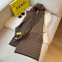 Fendi fashion FF knitted scarf keeps warm in winter, dual-use scarf, wild travel sunscreen, striped plaid shawl