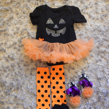Baby Halloween Costume Dot Legs Ruffle Pumpkin Wear