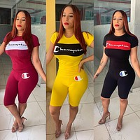 '' Champion '' Popular Woman Fashion Print Short Sleeve Top Shorts Set Two Piece