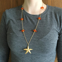 Gold Starfish Necklace, Summer Necklace, Beach Necklace, Orange Sea Glass Necklace, 25 Inch Necklace, 14 KG Necklace