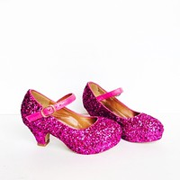 Hot Pink Glitter Girls Heels, Flower Girl Shoes