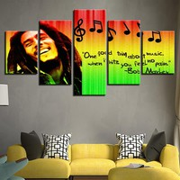 HD Prints 5 Pieces Pictures Home Decor Modular Canvas Wall Art Bob Marley Painting For Living Room Music Poster Bedroom Poster