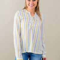 Living Free Striped Top-Mustard