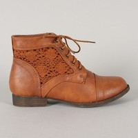Libby-03 Crochet Round Toe Lace Up Bootie