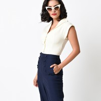 Vintage Style Off White Button Up Cap Sleeve Blouse