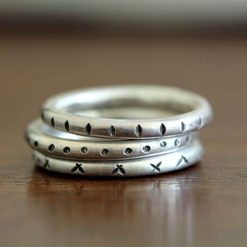 Decorative folk stacking rings