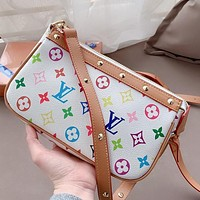 Louis Vuitton LV Willow nail colorful letter logo Mahjong bag coin purse crossbody bag