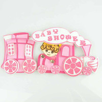 Baby Shower Foam Decor, 4-inch, Choo Choo Train, Light Pink
