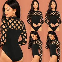 Womens Bodysuit Caged Choker Leotard Playsuit Ladies Casual Bodysuit Tops Jumpsuit New