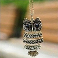 Amazon.com: Vintage Owl Pendant Long Bronze Chain Necklace Clothes: Jewelry