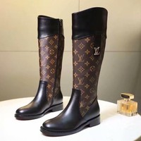 LV Louis Vuitton Fashion Women Classic Coffee Monogram Leather Personality High Boot Heels Shoes