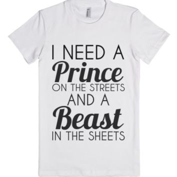 Prince And A Beast-Female White T-Shirt