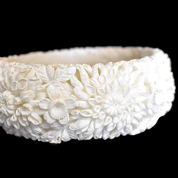Victorian Style Carved Celluloid Bangle Bracelet Romantic Vintage