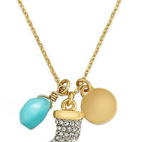 Juicy Couture Necklace, Gold-Tone Pave Horn Charm Necklace - All Fashion Jewelry - Jewelry & Watches - Macy's