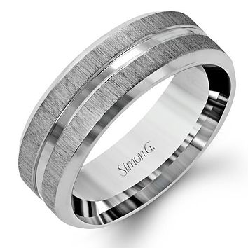 Simon G. Men's Satin Wedding Band with High Polished Center