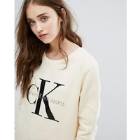 Calvin Klein Printed Womens Casual Long Sleeve Pullovers Sweaters Yellow Tagre™