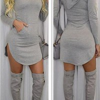 LIGHT GRAY HOODED DRESS