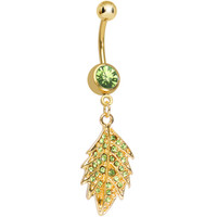 Light Green Gem Gold Plated Delicate Drifting Leaf Dangle Belly Ring | Body Candy Body Jewelry