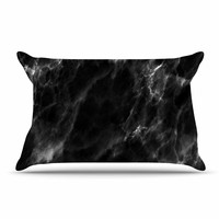 "Chelsea Victoria ""Black Marble"" Modern White Pillow Case"