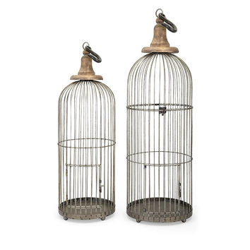 Distressed Vintage Style Metal Bird Cage Decorartion - A Pair | Free Shipping