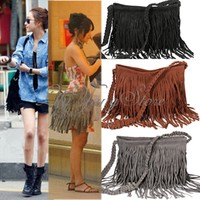 Women Lady Tassel Suede Fringe Shoulder Messenger Handbag Cross Body Satchel Bag
