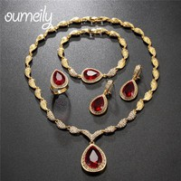 OUMEILY Wedding Bridal Jewelry Sets For Women Indian Red Green Gold Color CZ Rhinestone Vintage Dubai African Beads Jewelry Set