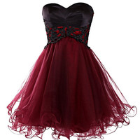 Homecoming Dress,Red Chiffon Satin Strapless Mini Short Prom Dress
