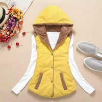 FEITONG Jackets For Women Vest Cotton Coat Autumn Winter Keep Warm Cardigan coat Sleeveless Jacket Fashion Pockets Yellow coat