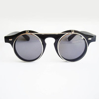 Vintage Flip-Up Sunglasses - Black with Silver