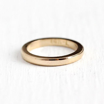 Gold Baby Ring - Vintage 14k Rosy Yellow Gold Plain Band - 1940s Size 1/4 Midi Childrens Fine Round Charm Jewelry